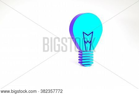 Turquoise Light Bulb With Concept Of Idea Icon Isolated On White Background. Energy And Idea Symbol.