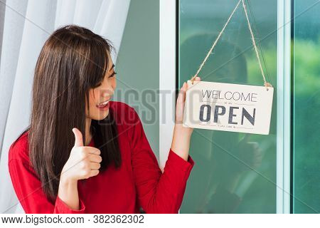 Asian Young Woman Smile Show Finger Thumb Up For Good Sign She Notice Sign Wood Board Label