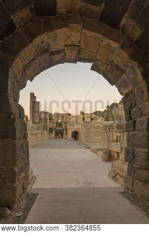 Sunset View Of The Roman Theater Entrance Gate, In The Ancient Roman-byzantine City Of Bet Shean (ny