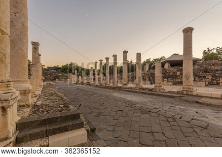 Sunset View Of The Reconstructed Cardo (palladius Street), In The Ancient Roman-byzantine City Of Be