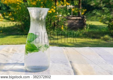 Chilled Water With Fresh Mint In Glass Jug On Table In Countryside. Drinking Water With Mint Leaves