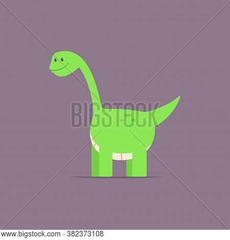 Brontosaurus Dinosaur Cute Cartoon Baby Character. Vector Flat Prehistoric Animal Isolated On Backgr