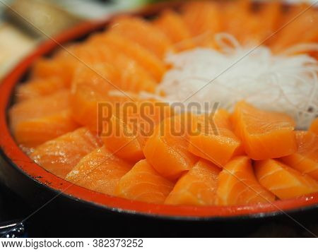 Fresh Salmon Fish Arranged In A Wooden Tray Style Japanese Food