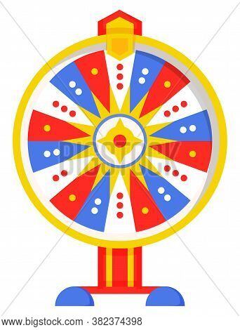 Wheel Of Fortune With Colored Sectors, Flat Style Illustration. Game Fortune Wheel Concept. Casino A