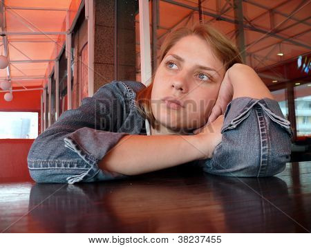 Girl Wait A Food In Restaurant