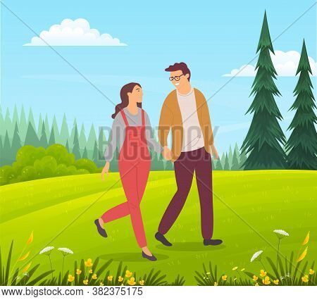 Couple Walking In A Forest. Young Guy And Girl Holding Hands Walking In Summer Garden, Romantic Walk
