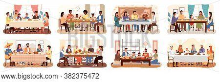 Family At Festive Dinner Scenes Set. Children, Parents And Grandparents Eating National Dishes Toget