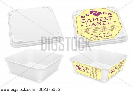 Vector Open Empty Square Plastic Container With Round Tabs And Blanks As Motionless Locking System F
