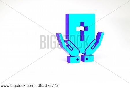 Turquoise Oath On The Holy Bible Icon Isolated On White Background. The Procedure In Court. Truth An