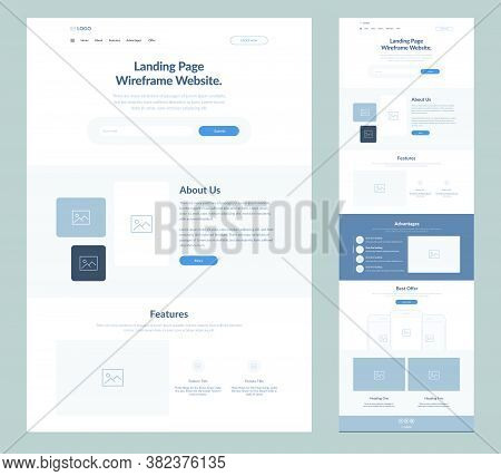 Landing Page Wireframe Site Design For Business. One Page Web Site Layout Template. Modern Responsiv