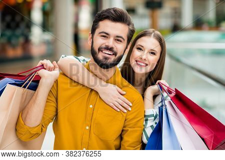 Close-up Portrait Of His He Her She Nice Attractive Lovely Charming Cheerful Cheery Couple Carrying