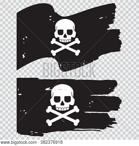 Pirate Black Flag With A Skull And Crossbones. Vector Flat Illustration Isolated On A Transparent Ba