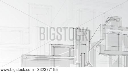 Modern Architecture Concept. Architectural Building Plan On Gray Background, Black And White Vector