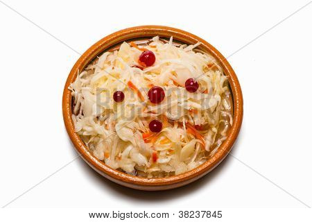 sauerkraut on a clay plate