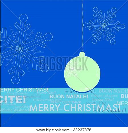 Blue and White Christmas Greeting Card