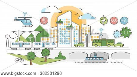 Smart City With Ergonomic And Automated Sensors Network Scene Outline Concept. Digital Urban Infrast