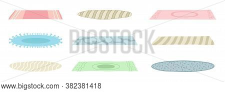 A Set Of Floor Mats Of Different Shapes, Colors. Floor Covering, Decorating The Interior, A Cozy Hom