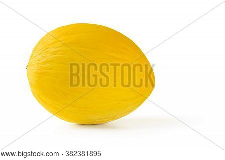 Whole Ripe Honeydew Melon With Yellow Peel Isolated On White Background. Sweet Fruits And Berries. V
