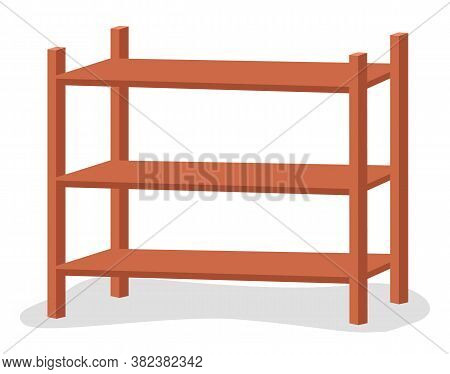 Wooden Rack Storage Stand. Sample Furniture Home And Warehouse Interior Element Vector Illustration