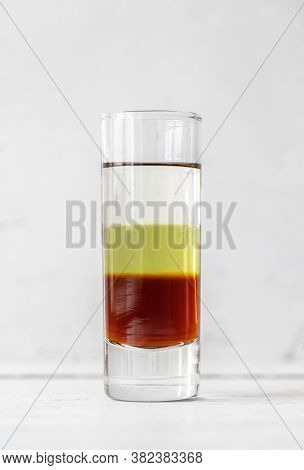 Glass Of Bijou - Mixed Alcoholic Drink Composed Of Gin, Vermouth, And Chartreuse