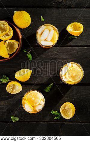 Lemon Iced Tea Vertical Top View.