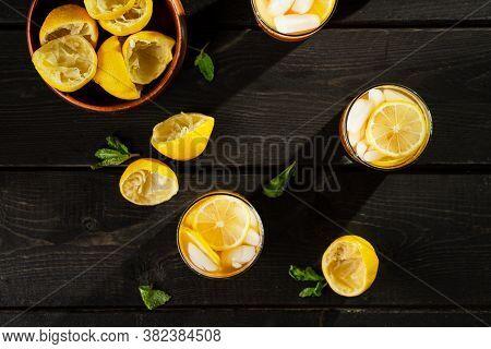 Lemon Iced Tea From Above Table.
