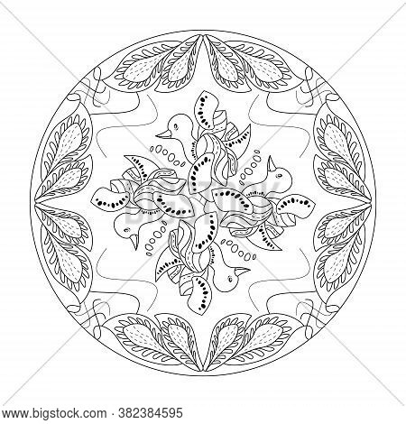 Mandala Coloring Page. Cute Little Duck. Art Therapy. Anti-stress Coloring Page. Black And White. Ve