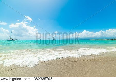 Sun Shining Over La Datcha Beach In Guadeloupe, French West Indies. Lesser Antilles, Caribbean Sea