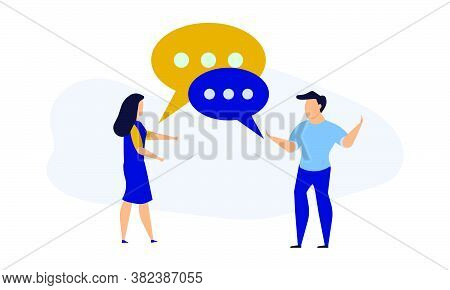 Business People Social Dialogue Man And Woman. Speech Bubble Chat Goal Discuss Person Vector Illustr