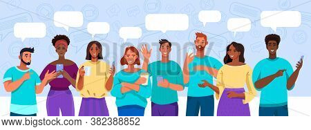 Virtual Meeting And Group Chat Illustration With Diverse Multinational People With Smartphones, Spee