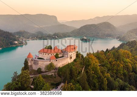 Aerial Panoramic View Of Lake Bled And The Castle Of Bled, Slovenia, Europe. Aerial Drone Photograph