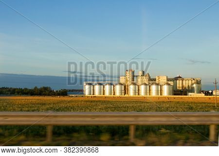 Silos Grain Store Middle Field Blue Sky Background Autumn Fall Sunset