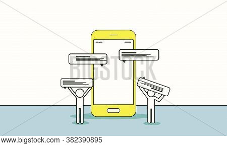 Doodle People Search Love On Dating App Online Vector Illustration. People Communication Couple Conc