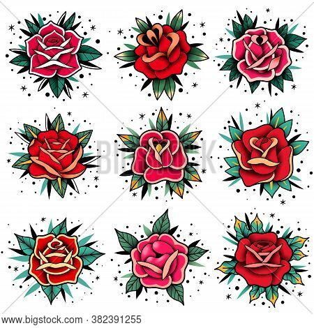 Old School Tattoo Roses Set. Old School Tattoo Roses Set. Vector Elements Collection. Traditional Am