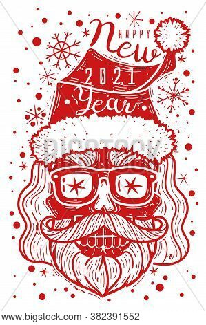 Hipster Santa Skull Poster. Hipster Santa Skull Poster. Vector Illustration New Year. Hipster Christ