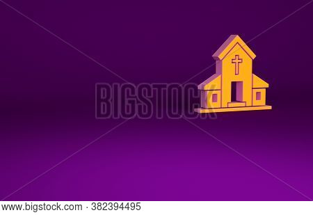 Orange Church Building Icon Isolated On Purple Background. Christian Church. Religion Of Church. Min