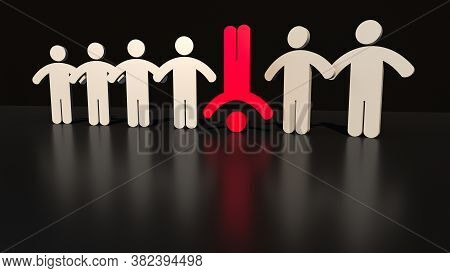 Red Man Standing On The Head Out From Crowd Of Plenty Identical White Fellows. Leadership, Uniquenes