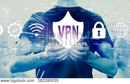 Vpn Concept With Young Man Using His Smartphone