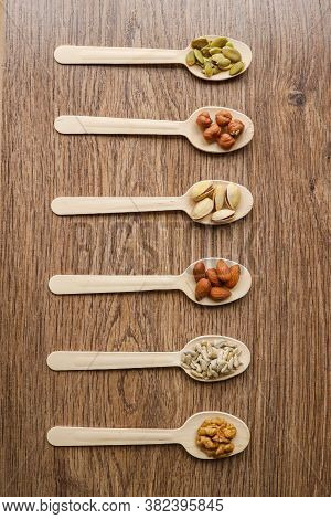 Some Of The Assorted Nuts With Pistachios, Almonds, Pumpkin Seeds, Sunflower Seeds, Hazelnuts In Woo