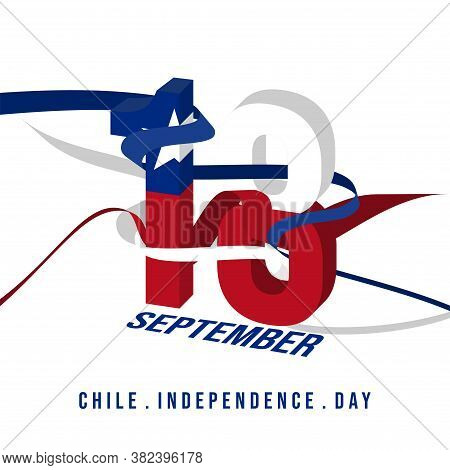 Typography Of 18 Number For Chile Independence Day When Celebrate On 18 September.