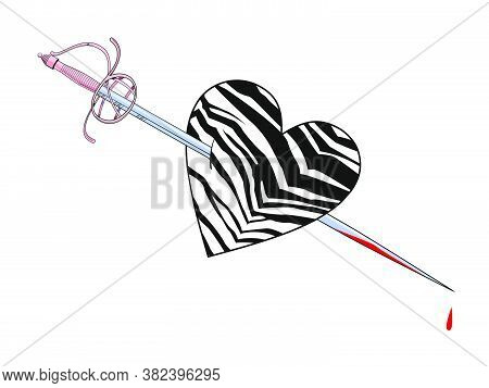 Vector Illustration Of An Animal Print Heart Pierced By A Sword On White Background. Romantic Sketch
