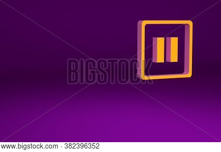 Orange Pause Button Icon Isolated On Purple Background. Minimalism Concept. 3d Illustration 3d Rende