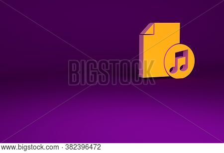 Orange Music Book With Note Icon Isolated On Purple Background. Music Sheet With Note Stave. Noteboo