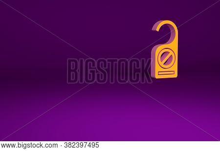 Orange Please Do Not Disturb Icon Isolated On Purple Background. Hotel Door Hanger Tags. Minimalism