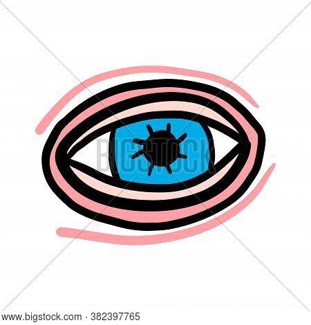 Open Eye Hand Drawn Vector Illustration In Cartoon Doodle Style Pink Skin Blue Cornea
