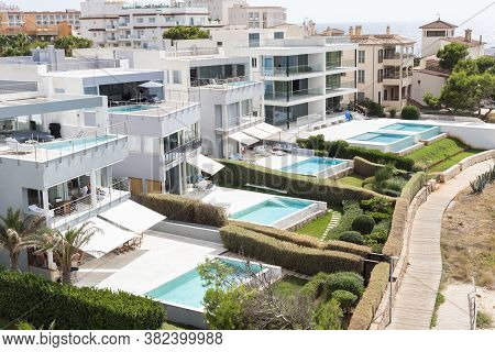 Colonia De Sant Jordi, Mallorca, Spain - August 12 2020: Top View Luxury Touristic Apartments With P