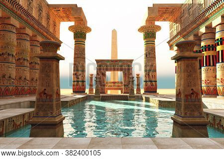 Egyptian Pool With Obelisk 3d Illustration - Ornate Egyptian Architecture With Hieroglyphs Surround