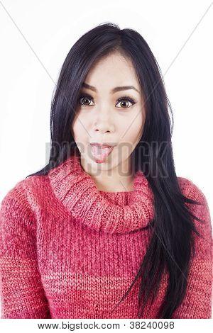 Frech Nahaufnahme Gesichtsausdruck in Fotoautomat