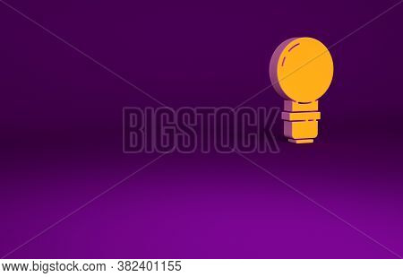 Orange Light Bulb With Concept Of Idea Icon Isolated On Purple Background. Energy And Idea Symbol. I