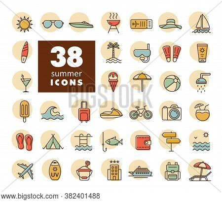 Summer Vector Icons Set. Graph Symbol For Travel And Tourism Web Site And Apps Design, Logo, App, Ui